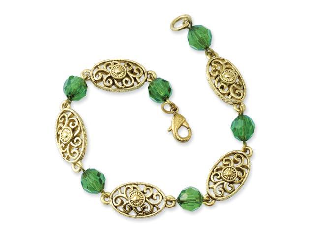 Brass-tone Green Crystal 7.5in Bracelet