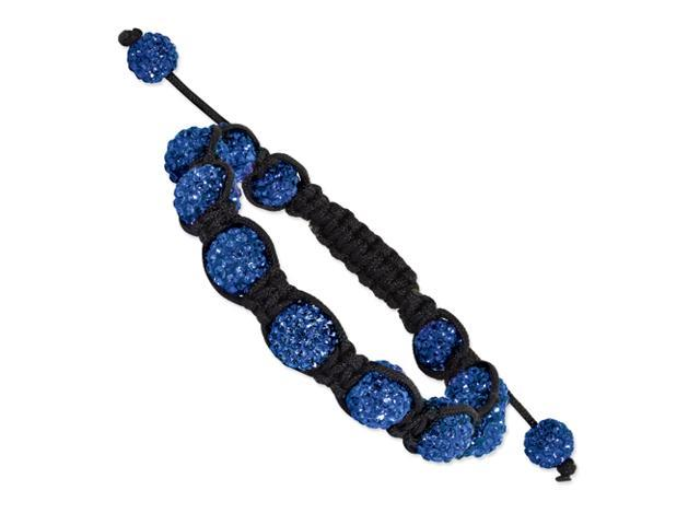10mm Royal Blue Crystal Beads Black Cord Bracelet
