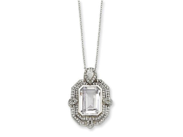 Sterling Silver CZ Step Cut Necklace