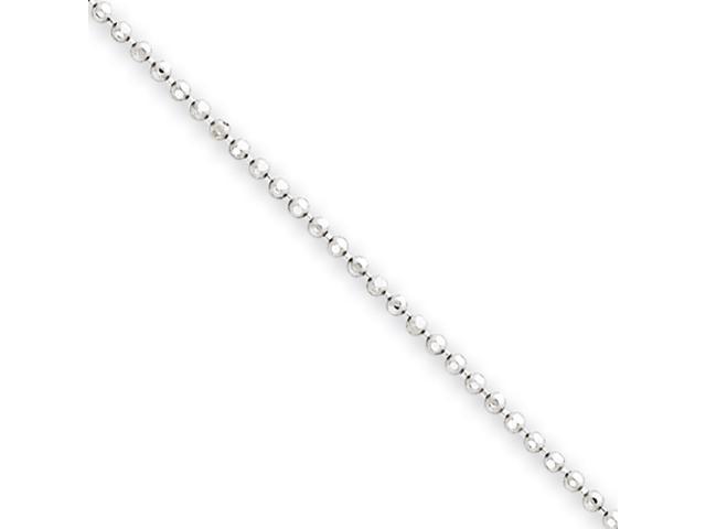 14k White Gold 1.2mm Beaded Pendant Chain