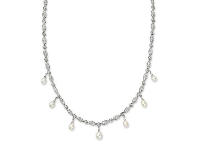 Sterling Silver CZ Freshwater Pearl Necklace