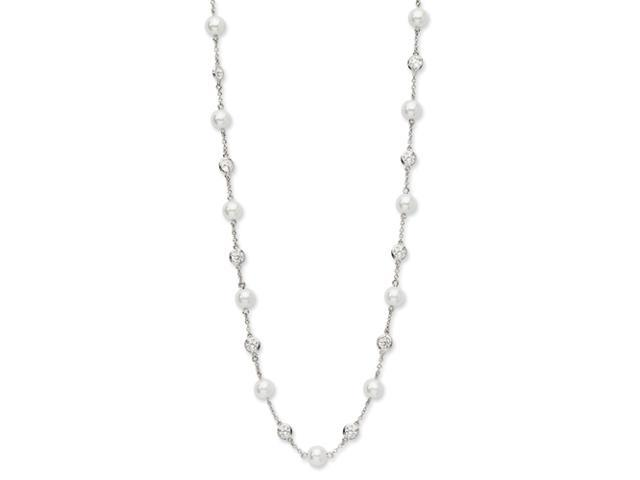 Sterling Silver CZ Glass Pearl Necklace