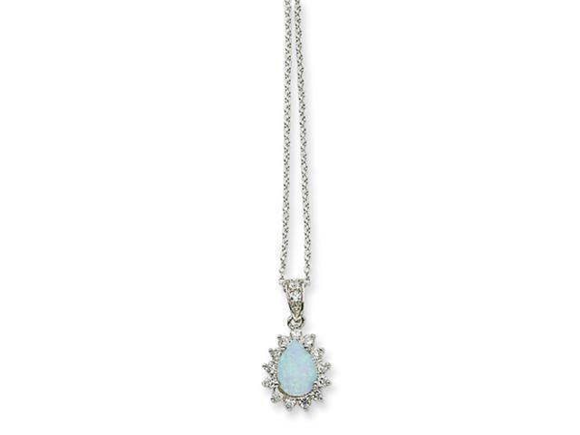 Sterling Silver CZ Synthetic Opal Pear Shaped Necklace