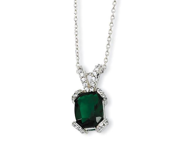 Sterling Silver Simulated Emerald & CZ 18in Necklace