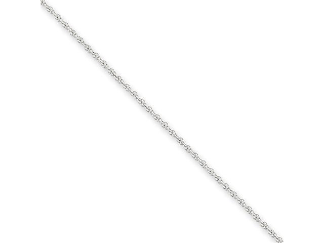 14k White Gold 1.1mm Baby Rope Chain