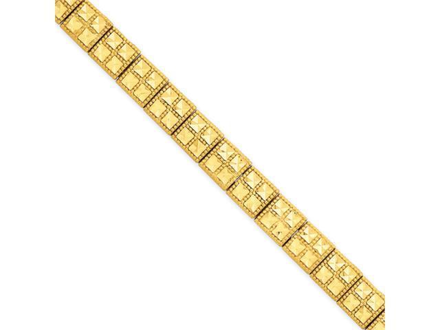 14k 7in Diamond-cut Fancy Etched Bracelet