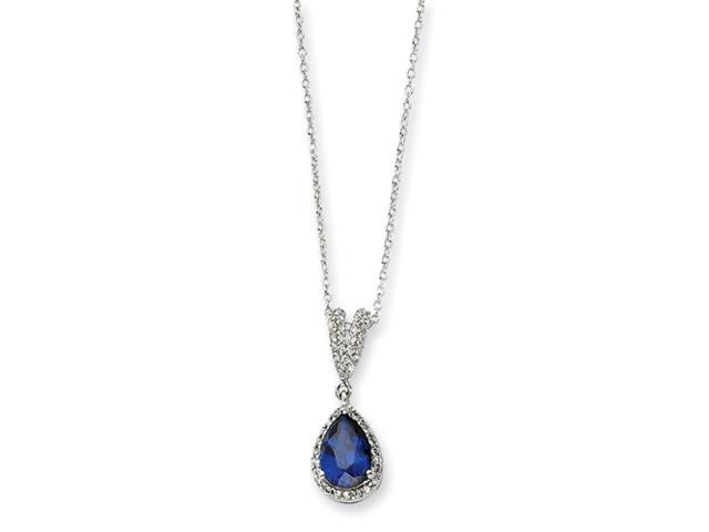 Sterling Silver CZ Synthetic Blue Spinel Pear Shaped Necklace