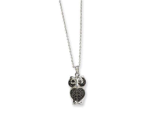 Sterling Silver Black CZ Owl Necklace