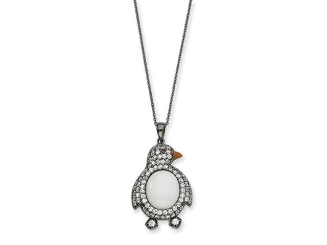 Sterling Silver CZ White Agate Black Rhodium Penquin Necklace