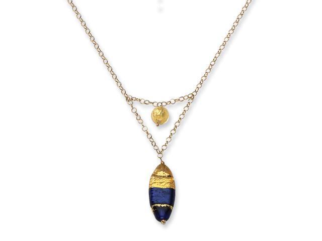 14k Murano Glass Bead V Necklace