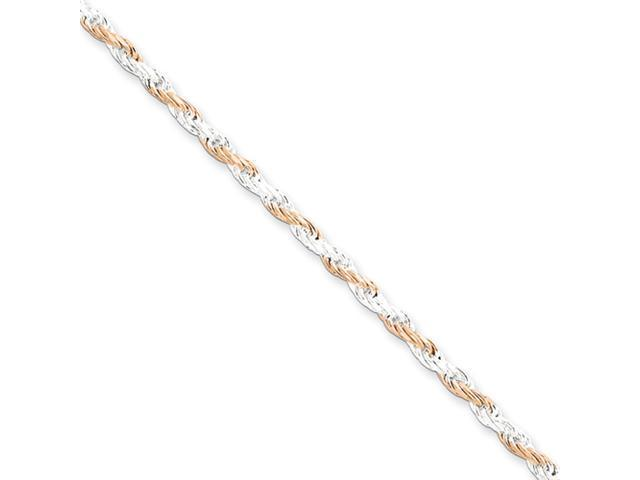 Sterling Silver 2.5mm Rose Vermeil Rope Chain