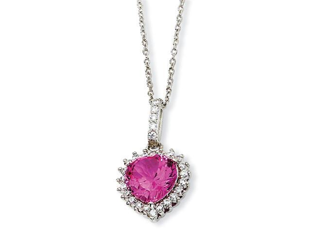 Sterling Silver 100-facet Heart Synth Pink Sapph/CZ 18in Necklace
