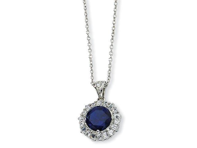 Sterling Silver Synthetic Sapphire & CZ 18in Necklace