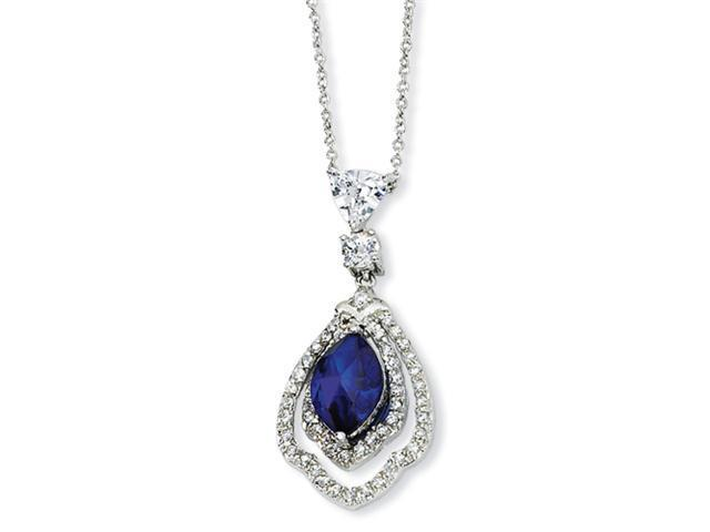 Sterling Silver Marquise Synthetic Sapphire & CZ 18in Necklace