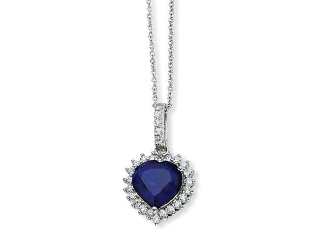 Sterling Silver Heart Synthetic Sapphire/CZ 18in Necklace