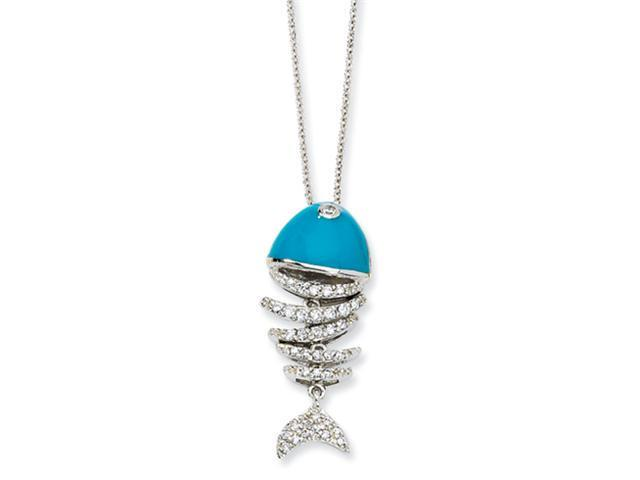 Sterling Silver Turquoise Enameled CZ Fish 18in Necklace