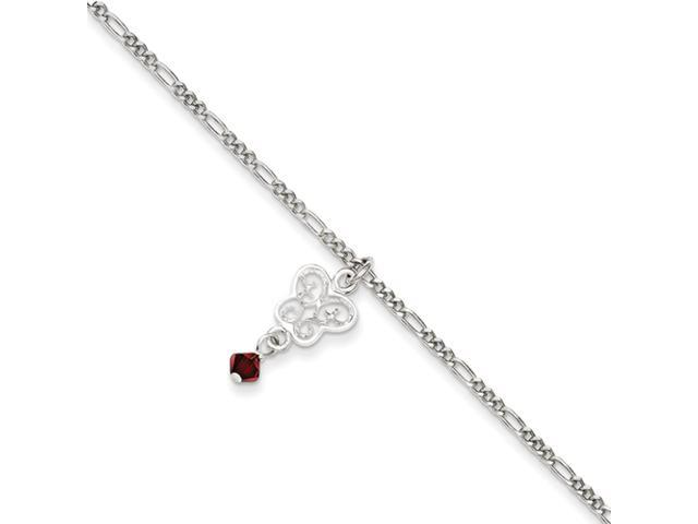 Sterling Silver Dark Pink Crystals & Dangling Butterflies Anklet