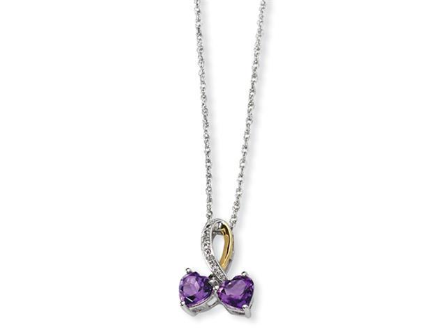 Sterling Silver & 14K Amethyst and Diamond Heart Necklace