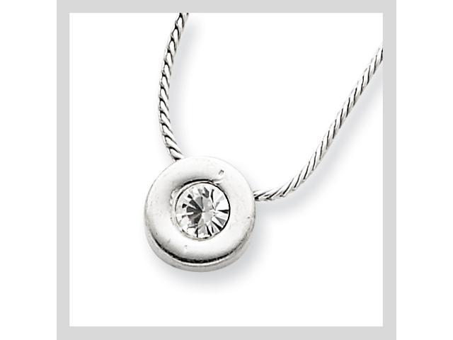 Sterling Silver CZ Charm on 16 Chain Necklace