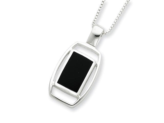 Sterling Silver Onyx Pendant with Chain Necklace