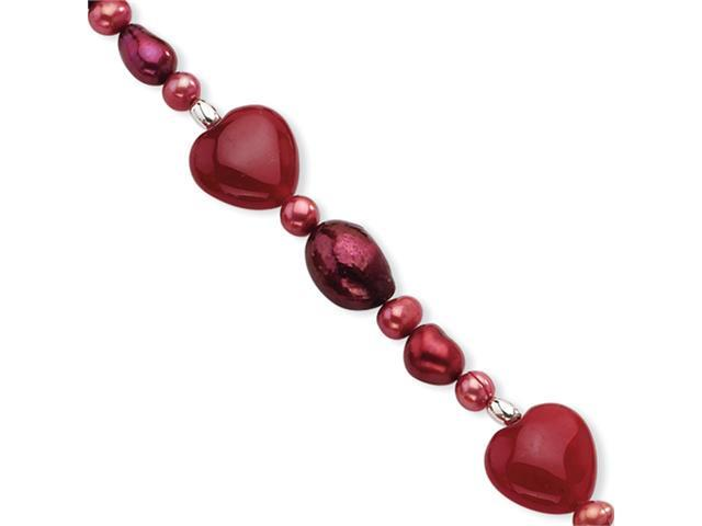 Sterling Silver Red Jade Hearts/Freshwater Cultured Pearl Bracelet