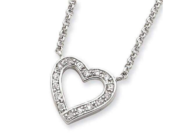 Sterling Silver CZ Heart on 16 Rolo Chain