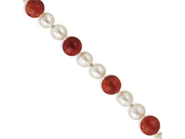 Sterling Silver 2-Freshwater Cultured Pearls & Red Coral Bracelet