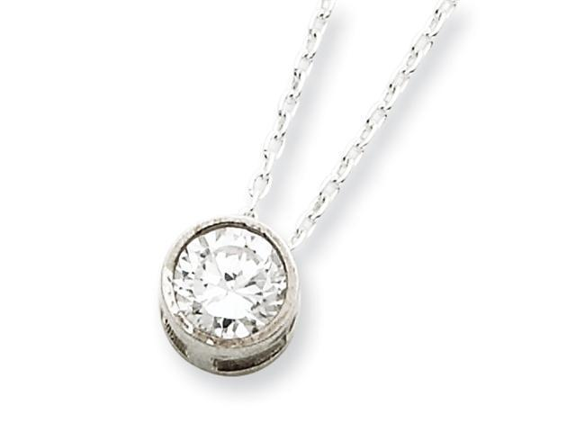 Sterling Silver CZ Pendant on 18 Chain Necklace
