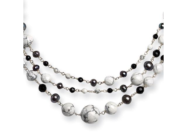 Sterling Silver Jet Crystal/Howlite/Cultured Peacock Pearl Necklace