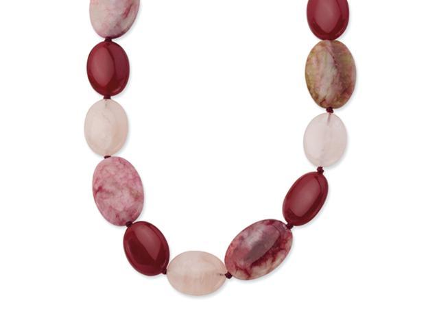 Sterling Silver Red Jade/Rose Quartz/Stabilized Stone 16in Necklace