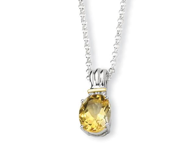 Sterling Silver & 14K Citrine and Diamond Necklace