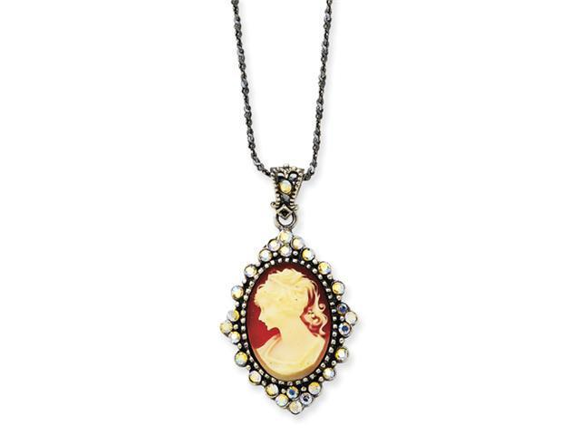 Sterling Silver Crystal Cameo Pendant w/ 16 Chain
