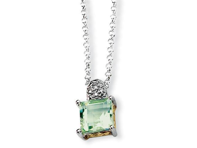 Sterling Silver & 14K Green Amethyst and Diamond Necklace