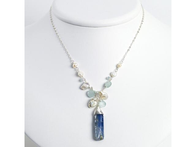 Sterling Silver Aquamarine/Kyanite/White Pearl Necklace