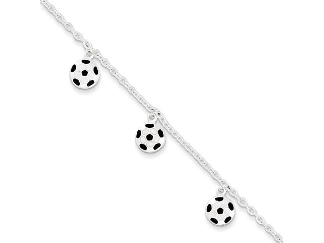 Sterling Silver Enameled Soccer Ball and Shoe Bracelet
