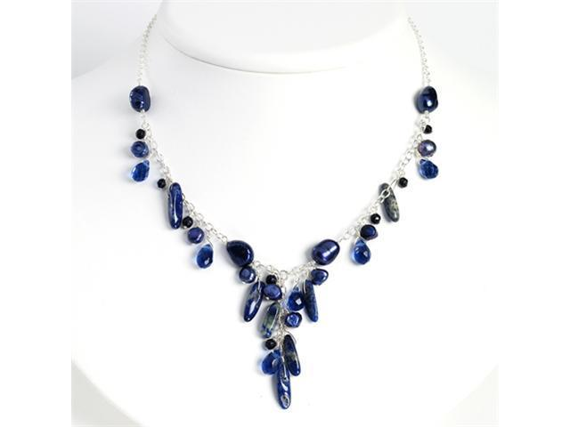 Sterling Silver Blue Sandstone/Dark Blue Cultured Pearl Necklace