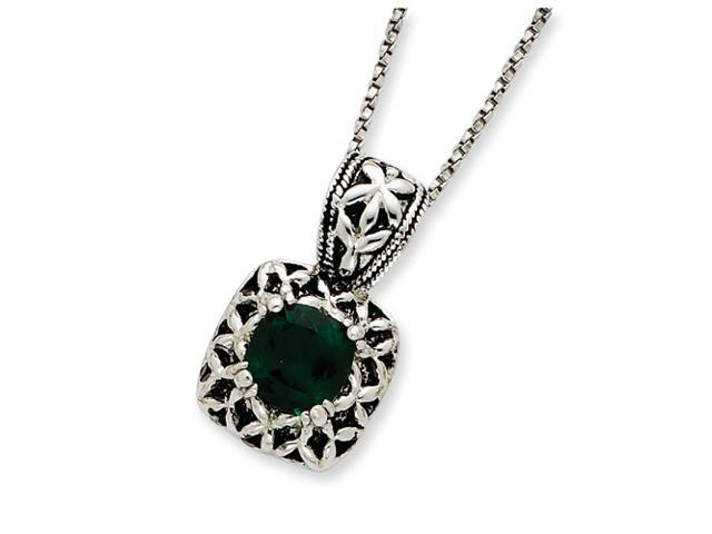 Sterling Silver Antiqued Green Crystal Necklace