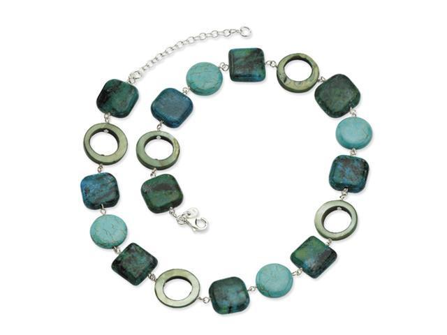Sterling Silver Chrysocolla/Dyed Howlite/MOP Necklace