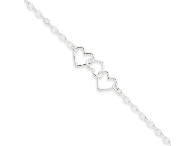 Sterling Silver 10inch Solid Polished Fancy Heart Link Anklet