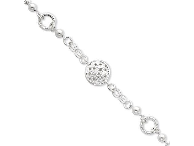Sterling Silver Satin & Polished Fancy Bracelet