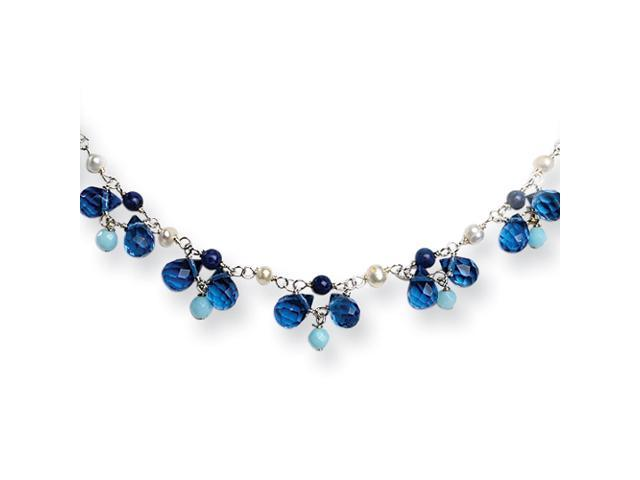 Sterling Silver Blue Crystal/Lapis/Amazonite/Cultured Pearl Necklace