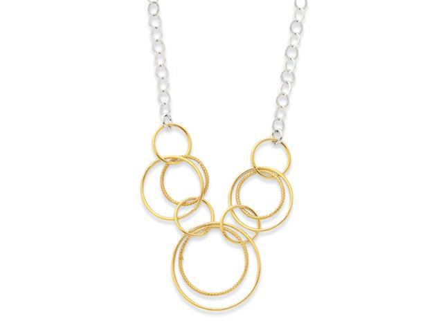 Sterling Silver & Vermeil Polished Fancy Circle Drop Necklace