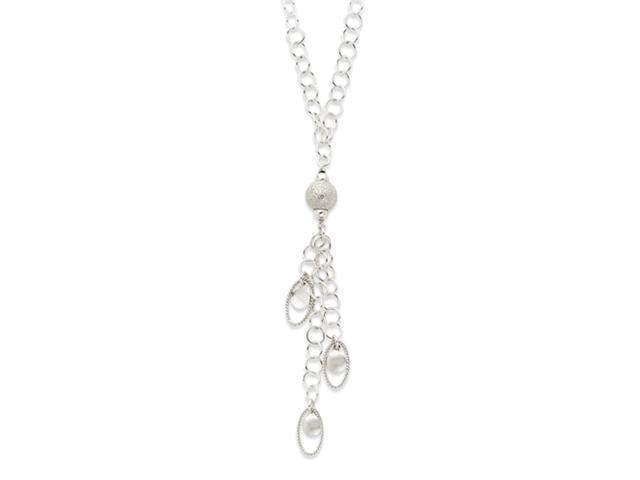 Sterling Silver Polished & Textured Fancy Drop Necklace