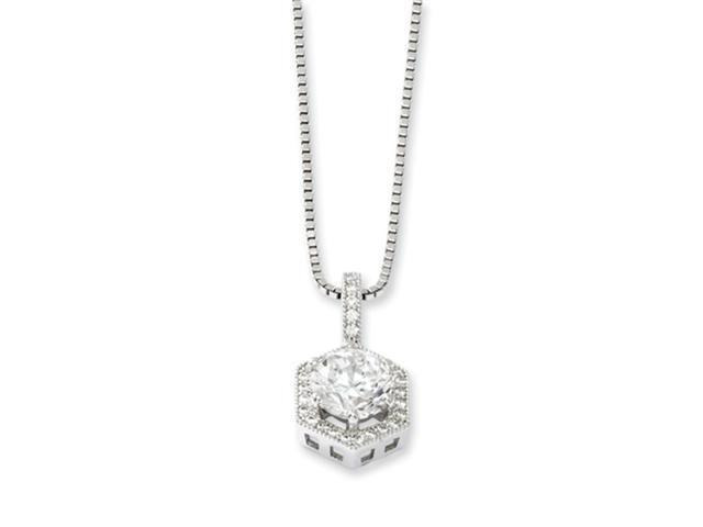Sterling Silver & CZ Brilliant Embers Hexagon Necklace