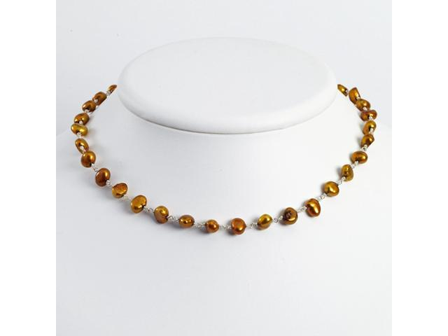 Sterling Silver Golden Brown Cultured Pearl Necklace