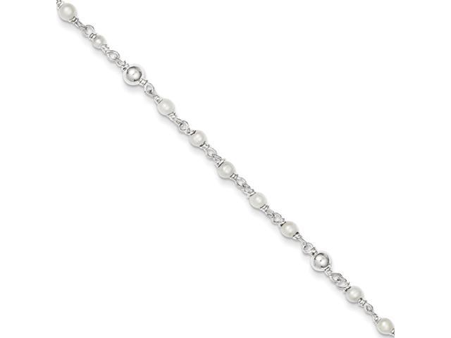 Sterling Silver Polished Freshwater Cultured Pearl & Heart Anklet