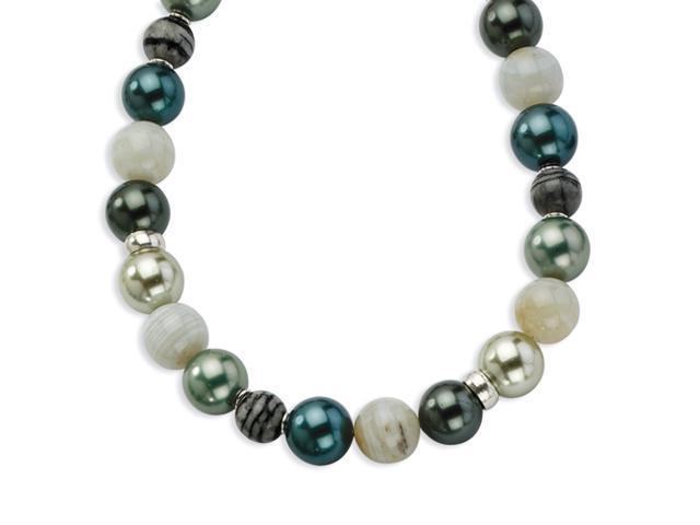 Sterling Silver Botswana Agate/Zebra Jasper/Simulated Pearl Necklace