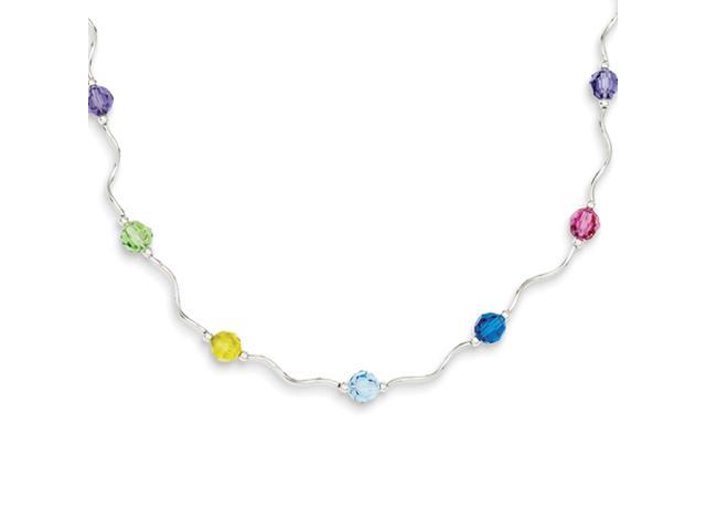 Sterling Silver Multi Crystal Necklace