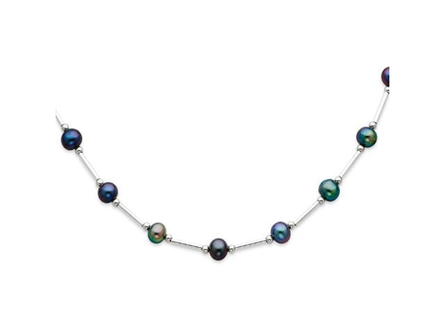 Sterling Silver Peacock Cultured Pearl Necklace