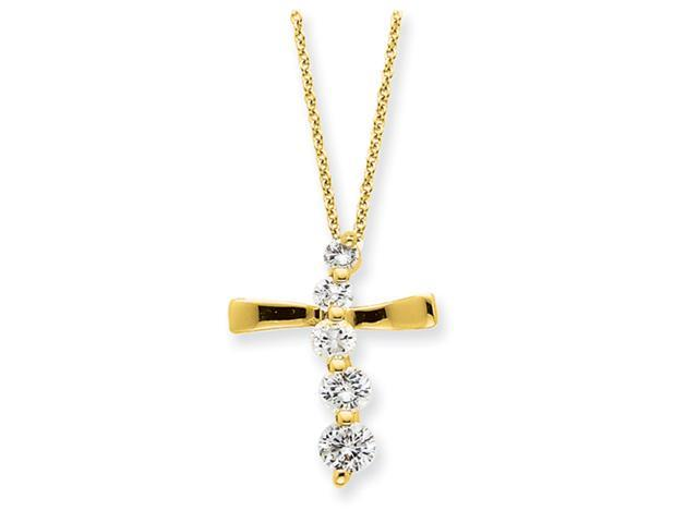 Sterling Silver Vermeil Cross Journey Necklace
